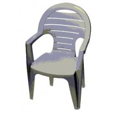 PATIO CHAIR RESIN SLAT HIGH BACK WHITE